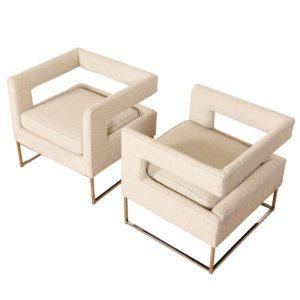 Pair Milo Baughman Open Back Club Chairs