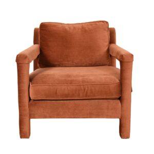 Copper Crushed Velvet Upholstered Club Chair