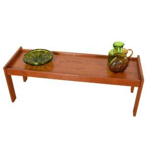 Danish Teak Petite Raised Edge Low Coffee Table / Bench