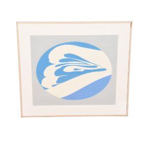 Jack Youngerman Large Blue & White Lithograph / Silkscreen 1976