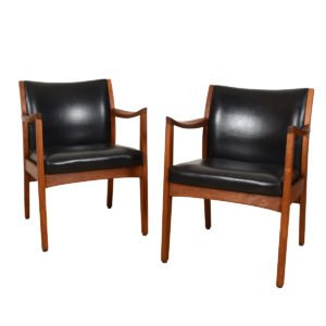 Pair Leather & Walnut Club / Accent Chairs