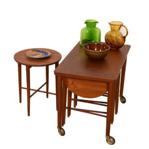 Danish Teak Rolling Cart w/ Nesting Drop-Leaf Accent Tables