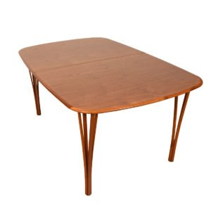 Haslav Oval Danish Modern Teak Expanding Dining Table w/ 2 Leaves.