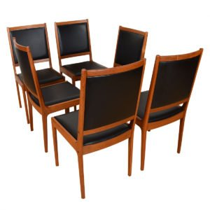 Ib Kofod-Larsen Set of 6+ Danish Teak Upholstered Back Dining Chairs – Add'l Chairs Available