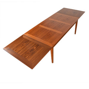 Danish Modern Teak Large Expanding Cross-Grain Dining Table.