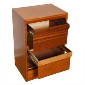 Petite Danish Teak Locking Tambour Door Filing Cabinet