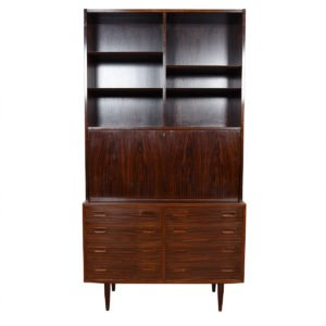 Danish Rosewood 2-Piece Secretary / 8 Drawer Guest Bedroom Storage