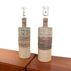 Pair of Danish Mid Century Ceramic Pottery Table Lamps