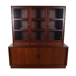 2-Piece Danish Rosewood Display / Tambour Door Storage Credenza