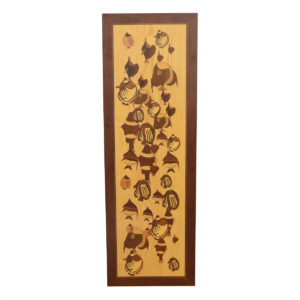 """Vintage Wooden Marquetry """"Painting"""" of a School of Fish"""
