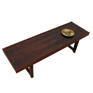 48″ Danish Modern Rosewood Torbjorn Afdal Bruksbo Bench / Coffee Table