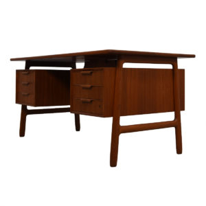 Solid Teak 6 Drawer Executive Desk w/ Drop-Down Storage + Shelves