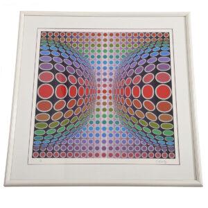 Vintage Victor Vasarely Modernist Geometric Op Artwork
