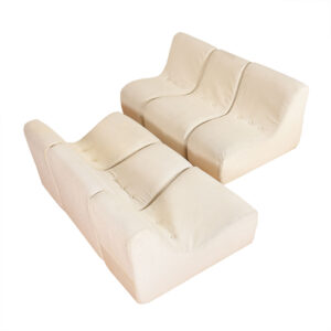 Set of Off-White Vintage Upholstered Modular Seating
