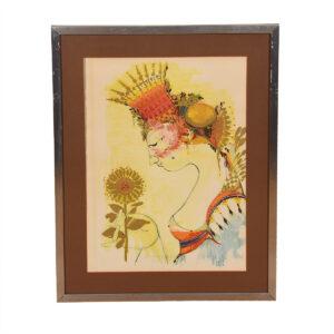 Bjørn Wiinblad Portrait of The Queen with a Sunflower
