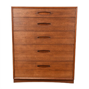 Double-Deep Mid Century Walnut Tall Graduated Drawer Dresser