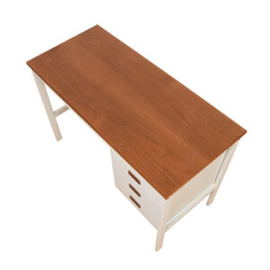 Apartment Sized Danish Modern Teak & White Desk
