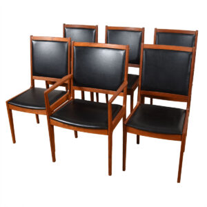 Set of 6 Danish Black & Teak Dining Chairs 1 Arm + 5 Side — Add'l Chairs Available