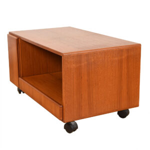Danish Teak Rolling TV Stand / Low Media Cabinet