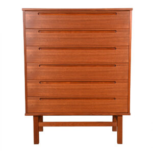 Teak Danish Modern Tall 6 Drawer Dresser / Chest