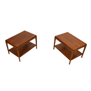 Mid Century Modern Walnut Pair of Accent Tables